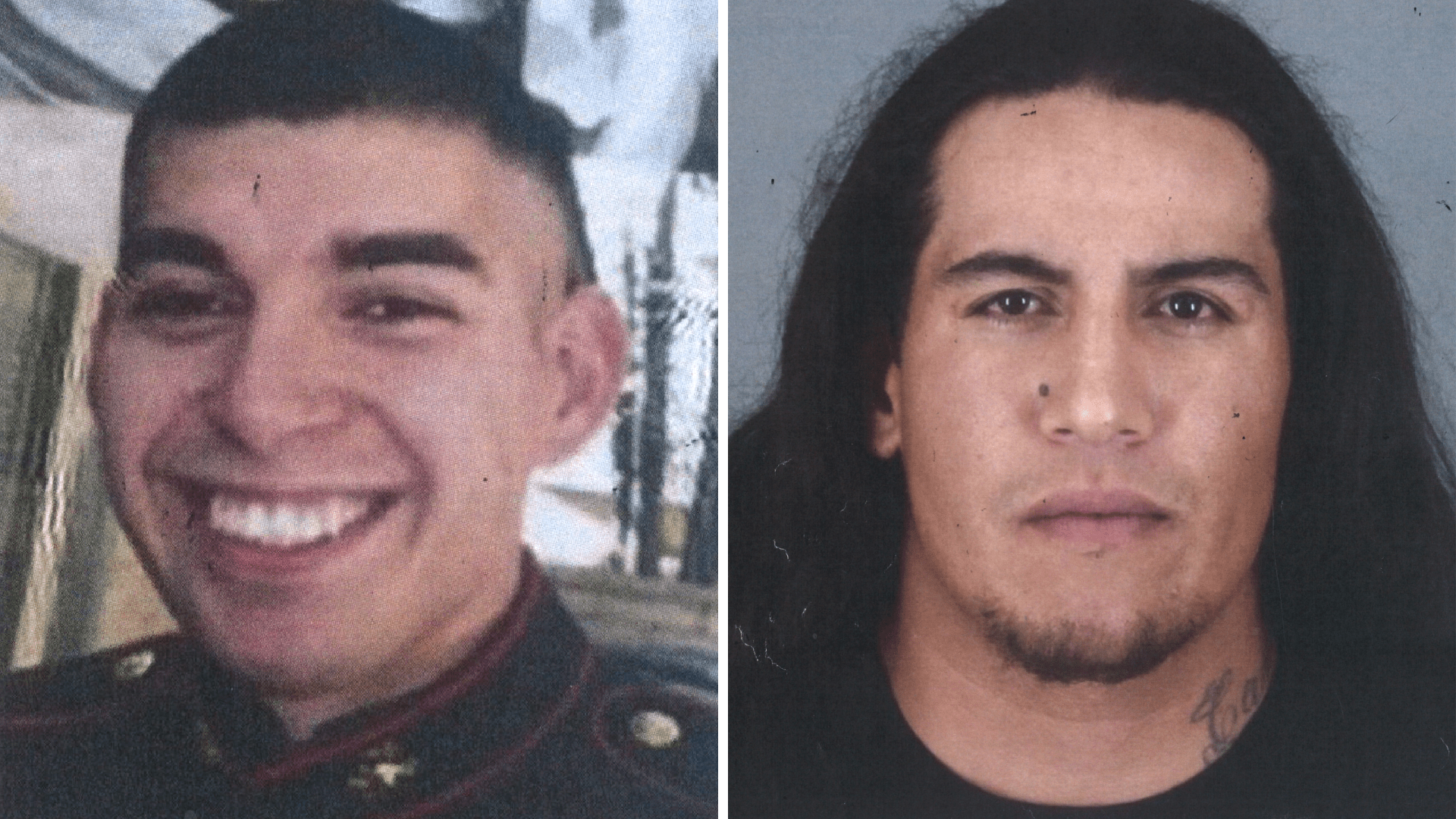 On the left, an undated photo shows Nicholas Males, 28-year-old U.S. Marine Corps veteran and father of two who was stabbed to death in Hemet in 2016. The photo on the right shows 35-year-old Robert Herrera Ramirez, the man arrested on suspicion of killing him.