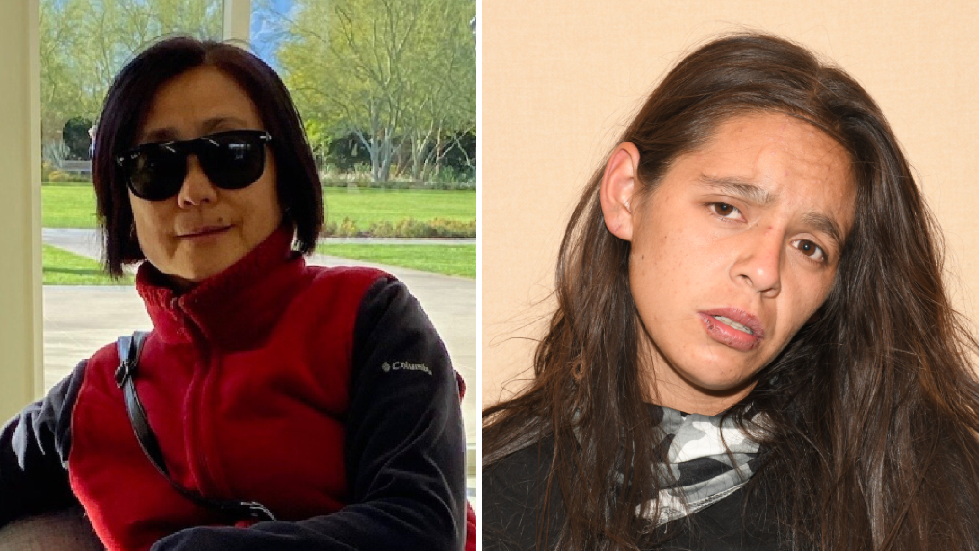Ke Chieh Meng, 64, is seen in an undated photo provided by police. The photo on the right shows the person arrested on suspicion of killing her, Darlene Stephanie Montoya, 23. (Riverside Police Department)