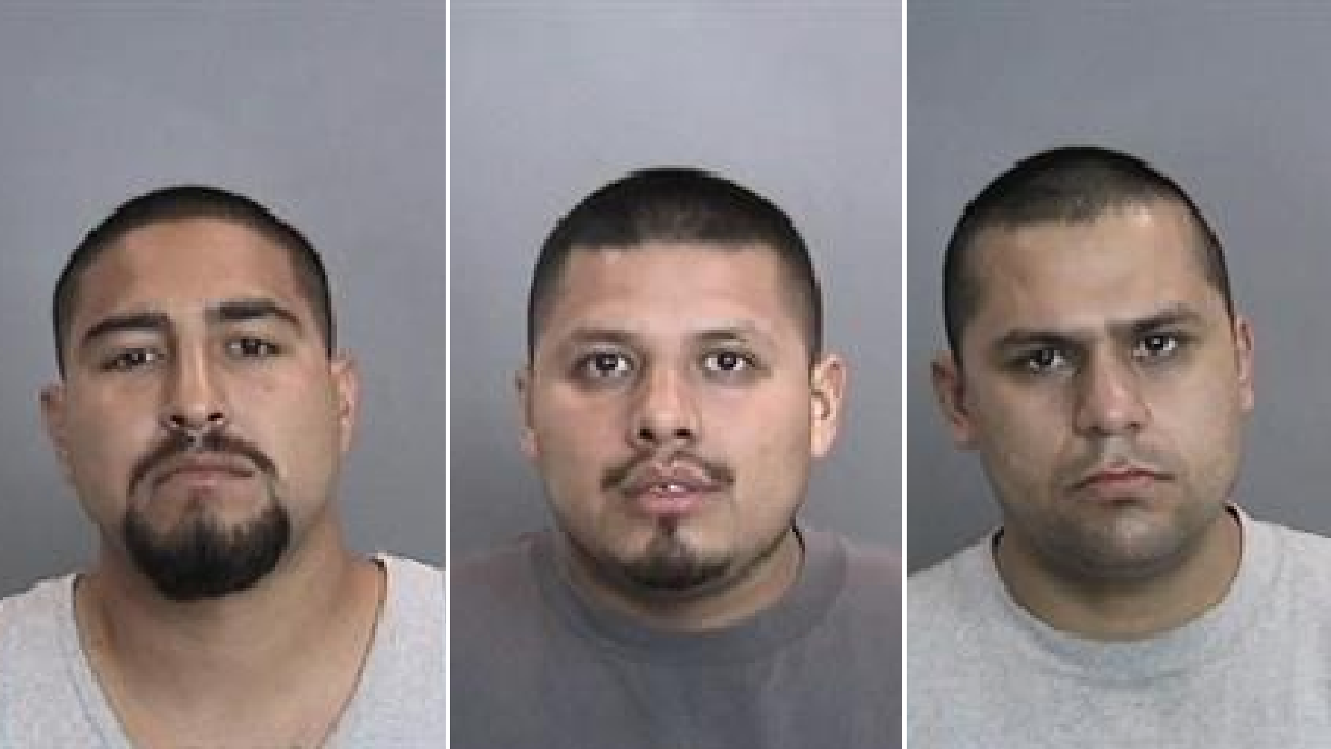 Dominick Sanchez, 27, Jacob Antunez, 24, and Jorge Nolasco, 27, are seen in undated booking photos provided by the Anaheim Police Department on April 16, 2021.