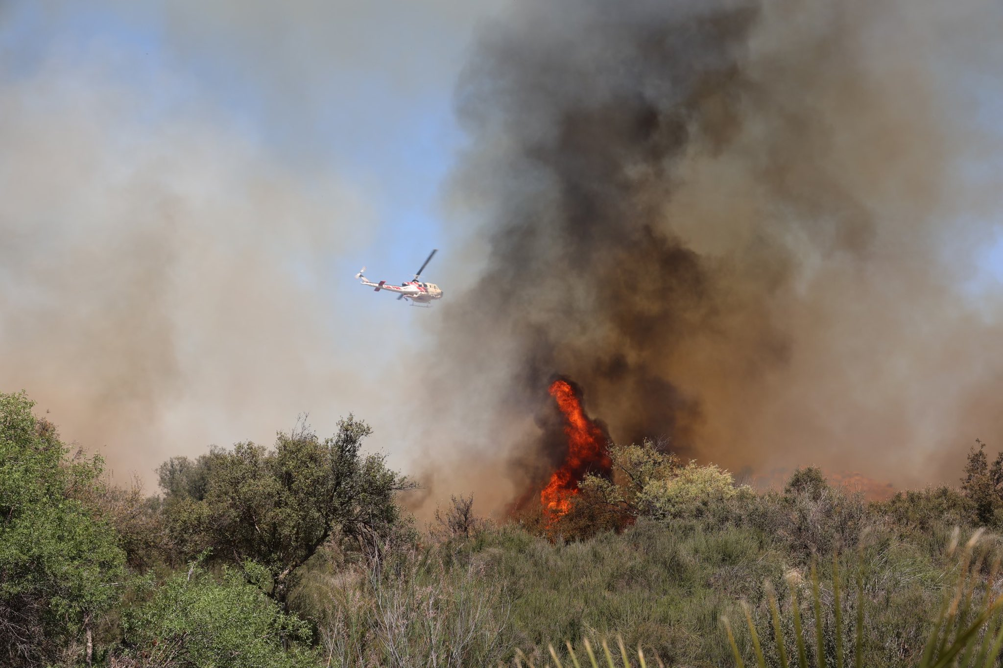 The Chico Fire burns in Riverside County, southwest of Mead Valley, on April 19, 2020, in a photo released by Cal Fire Riverside.