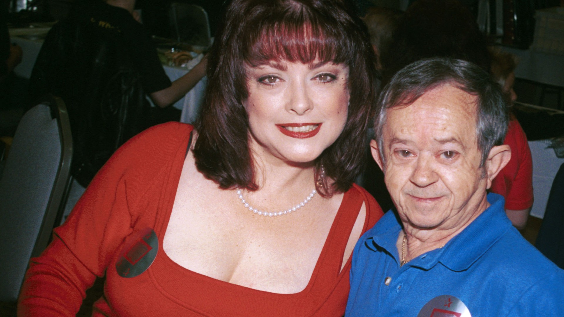 "Actors Lisa Loring (Wednesday) and Felix Silla (Cousin Itt) from the mid-60's television series ""The Addams Family"" attend the ""Hollywood Collectors and Celebrities Show"" April 7, 2001 in North Hollywood, CA. (Photo by Newsmakers)"