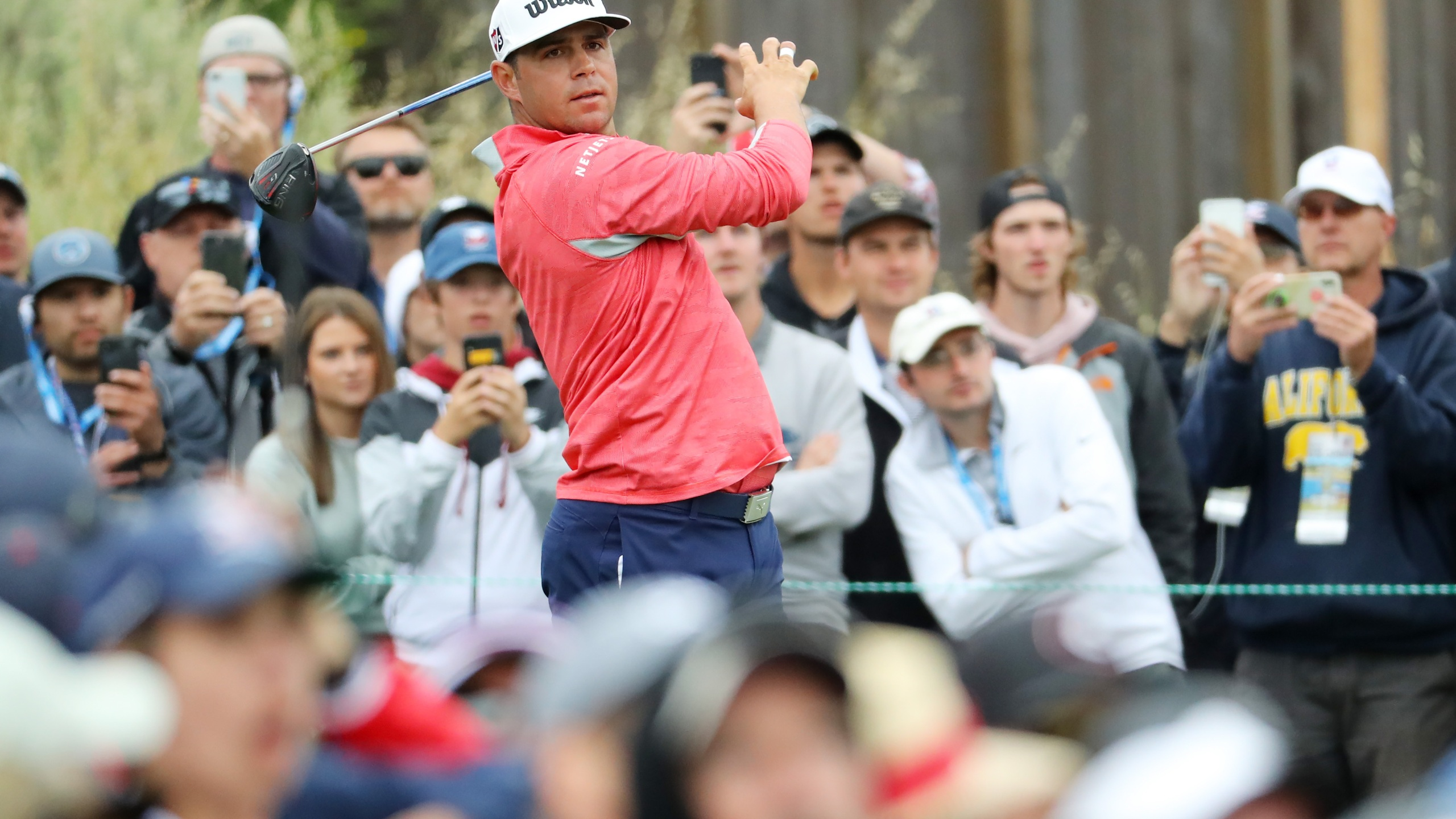Gary Woodland of the United States plays a shot from the 13th tee during the final round of the 2019 U.S. Open at Pebble Beach Golf Links on June 16, 2019, in Pebble Beach, Calif. (Warren Little/Getty Images)