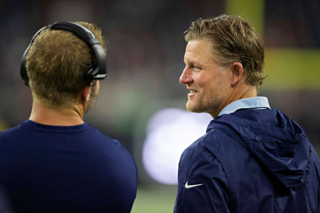 Head Coach Sean McVay and GM Les Snead of the Los Angeles Rams talk during a game against the Houston Texans during week four of the preseason at NRG Stadium on August 29, 2019 in Houston, Texas. (Wesley Hitt/Getty Images)