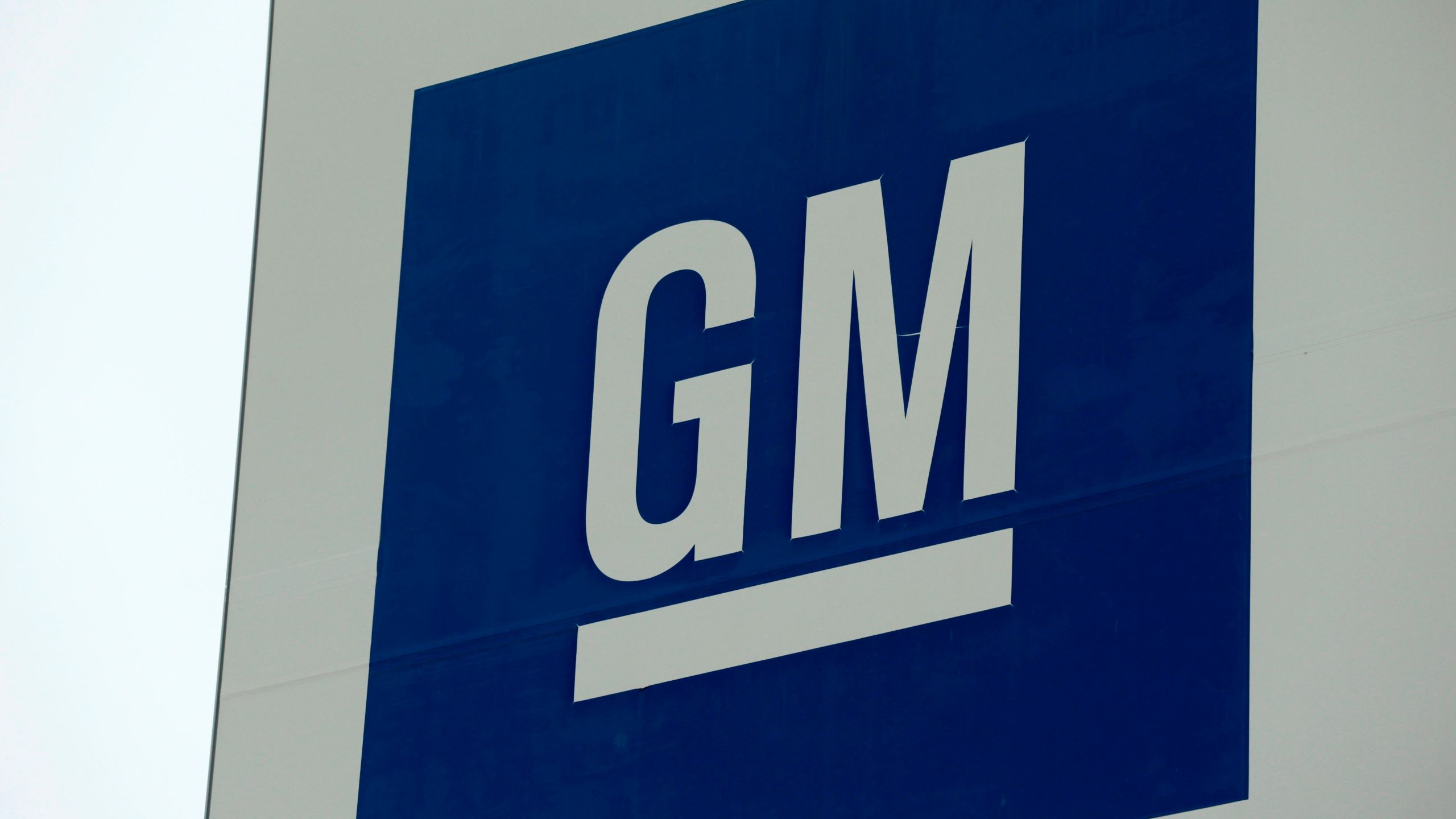 A sign is seen outside of General Motors Detroit- Hamtramck assembly plant on January 27, 2020 in Detroit, Michigan. (JEFF KOWALSKY/AFP via Getty Images)