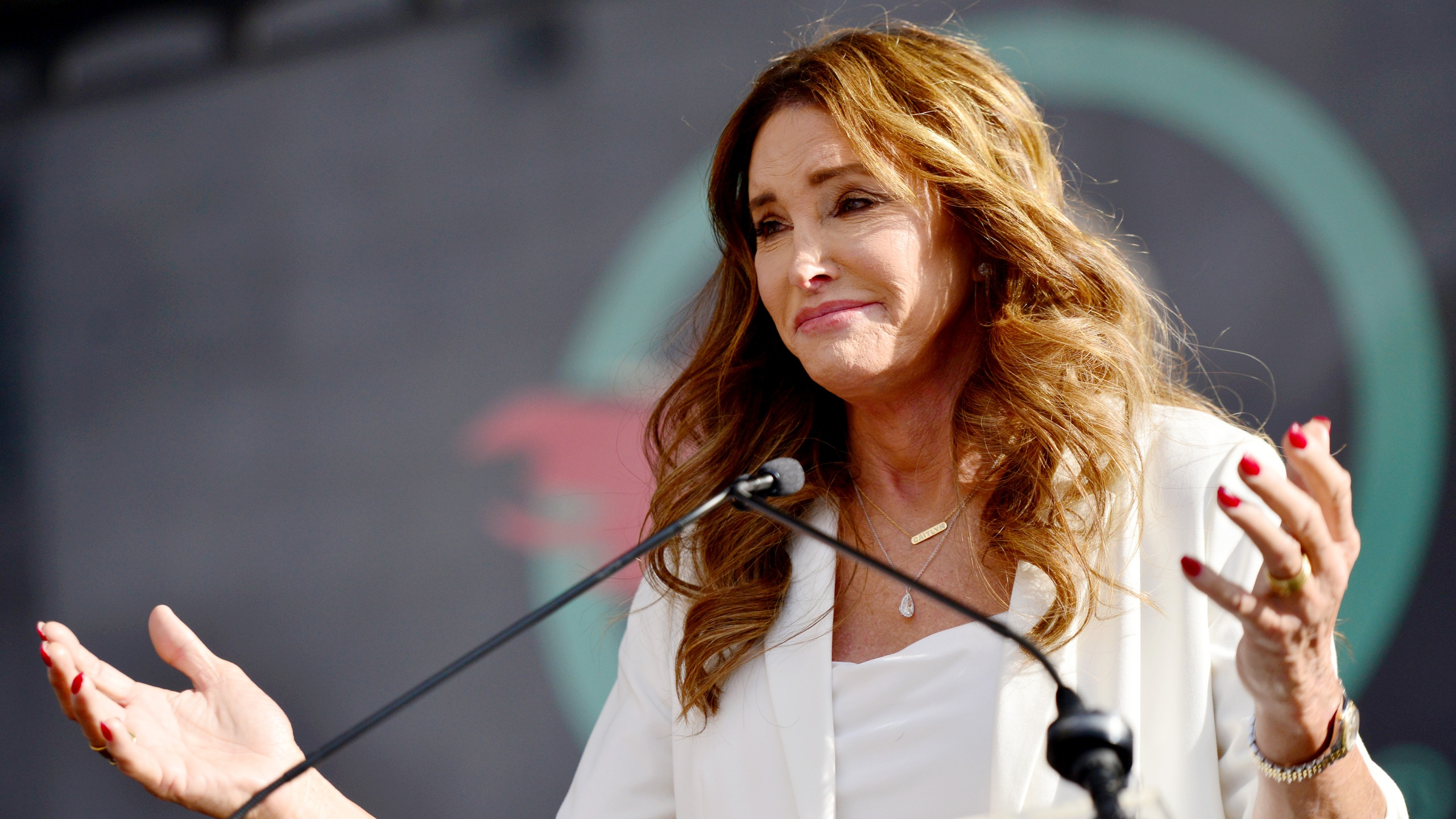 Caitlyn Jenner speaks at the 4th annual Women's March LA: Women Rising at Pershing Square on January 18, 2020 in Los Angeles, California. (Chelsea Guglielmino/Getty Images)