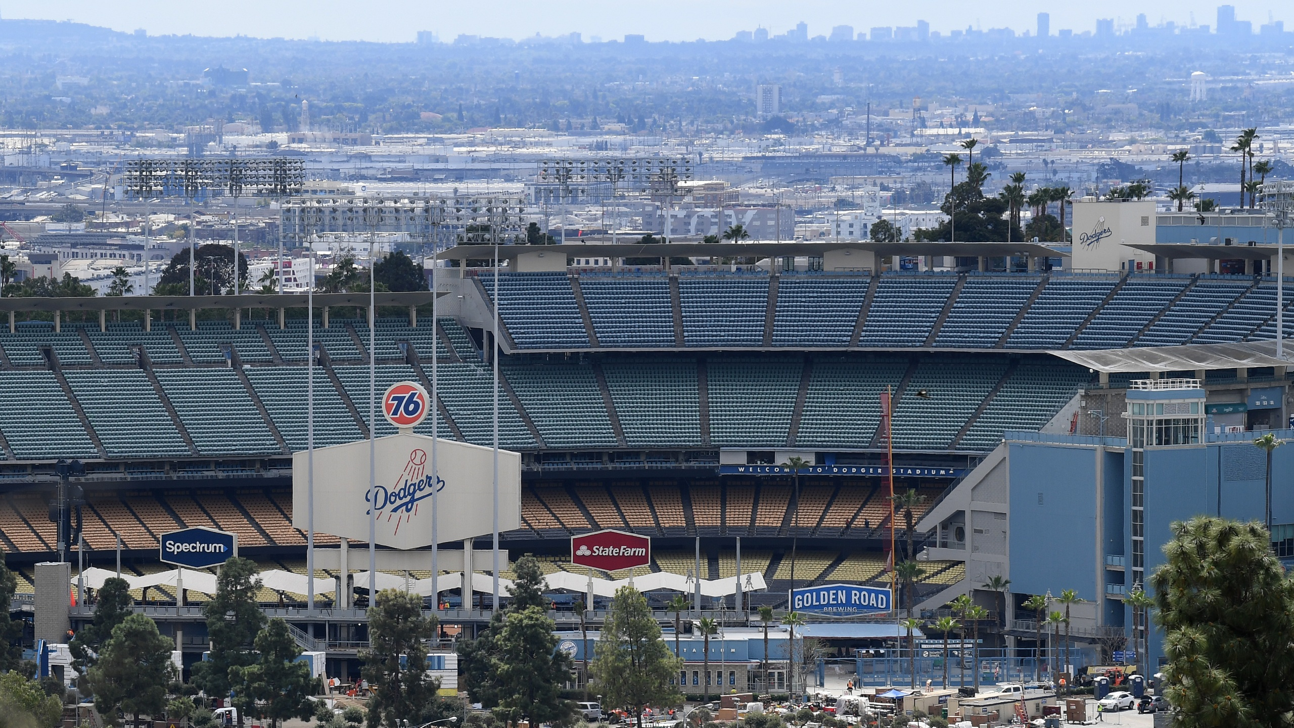 Dodger Stadium is seen on March 25, 2020. (Harry How/Getty Images)