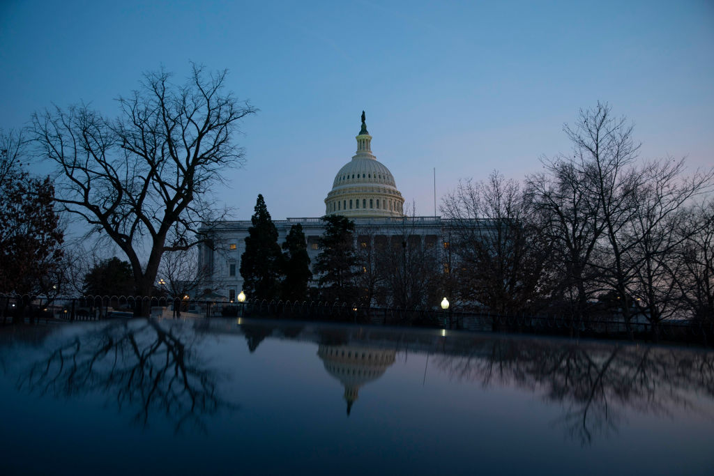 The U.S. Capitol building exterior is seen at sunset on March 8, 2021 in Washington, DC. (Sarah Silbiger/Getty Images)