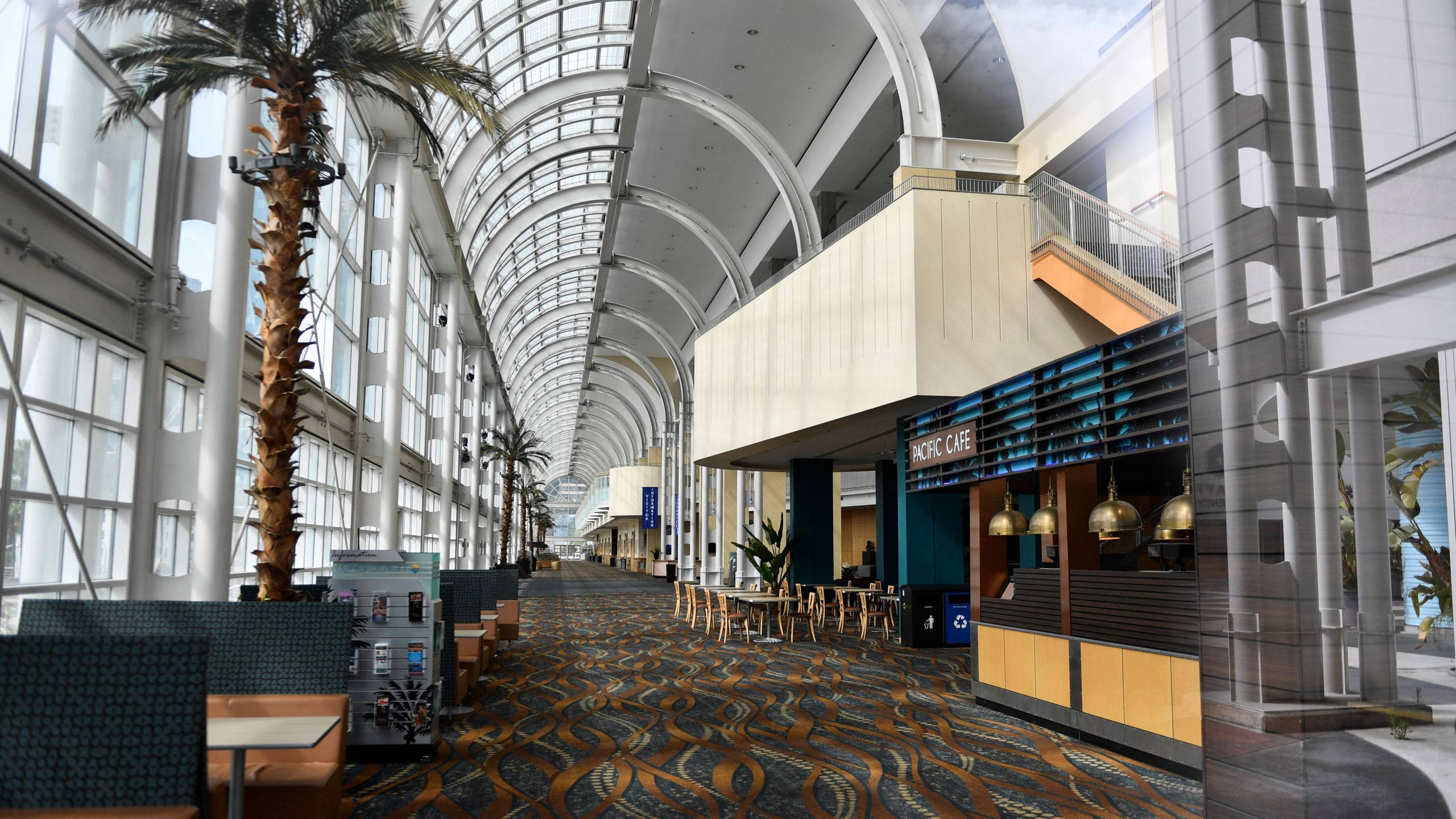 A concourse is seen inside the Long Beach Convention Center on April 7, 2021 in Long Beach. (PATRICK T. FALLON/AFP via Getty Images)