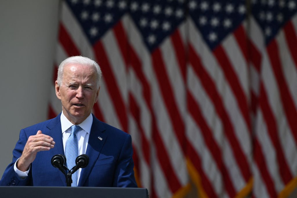 President Joe Biden speaks in the Rose Garden of the White House in Washington, DC, on April 8, 2021. (BRENDAN SMIALOWSKI/AFP via Getty Images)