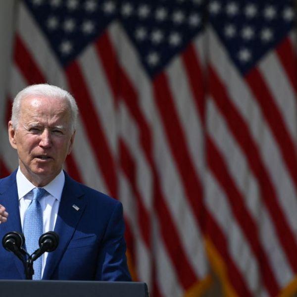President Joe Biden speaks in the Rose Garden of the White House in Washington, DC, on April 8, 2021. (BRENDAN SMIALOWSKI/AFP via Getty Images)