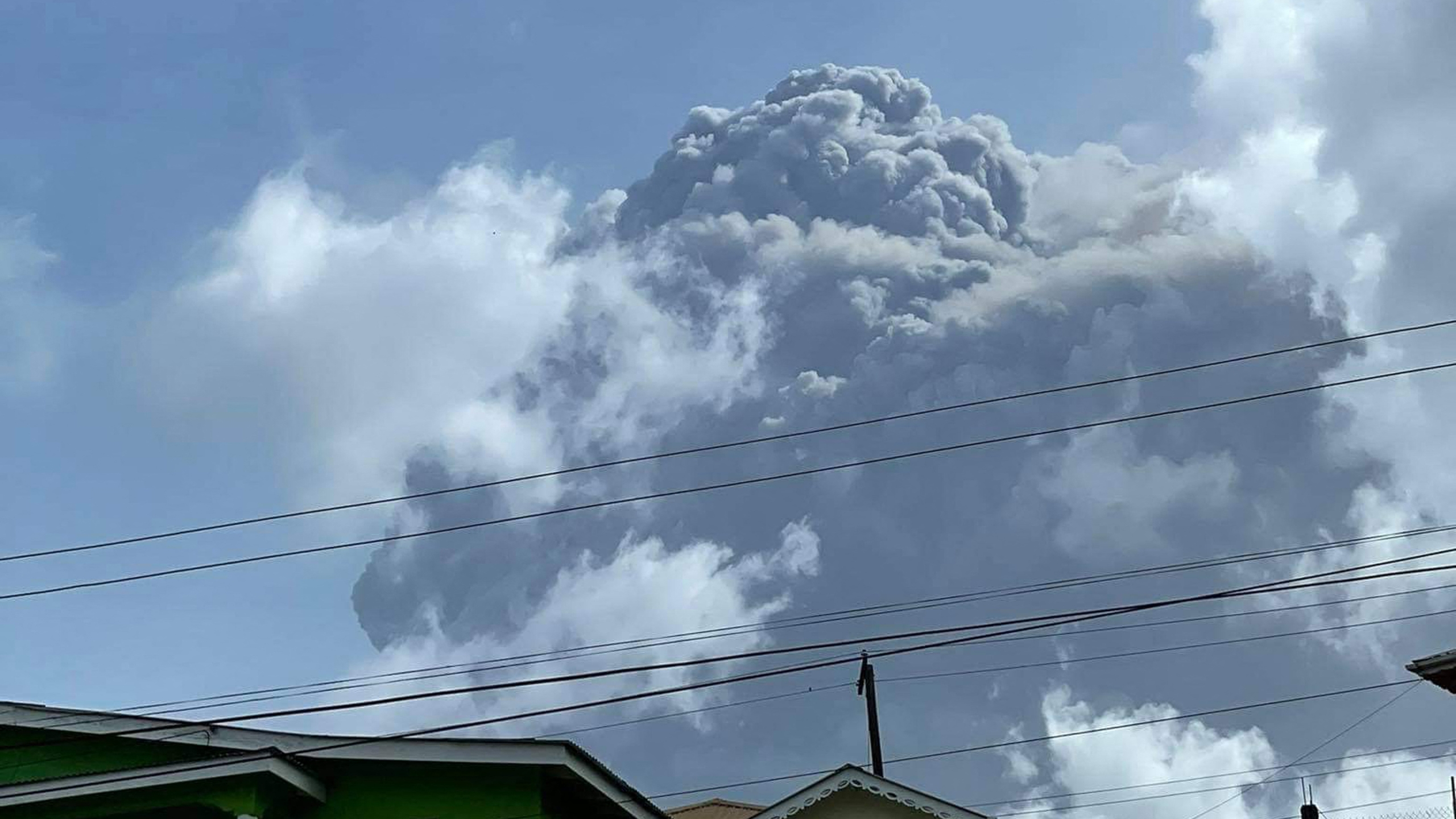 This April 9, 2021, image courtesy Zen Punnett shows the eruption of La Soufriere Volcano from Rillan Hill in Saint Vincent. (ZEN PUNNETT/Zen Punnett/AFP via Getty Images)