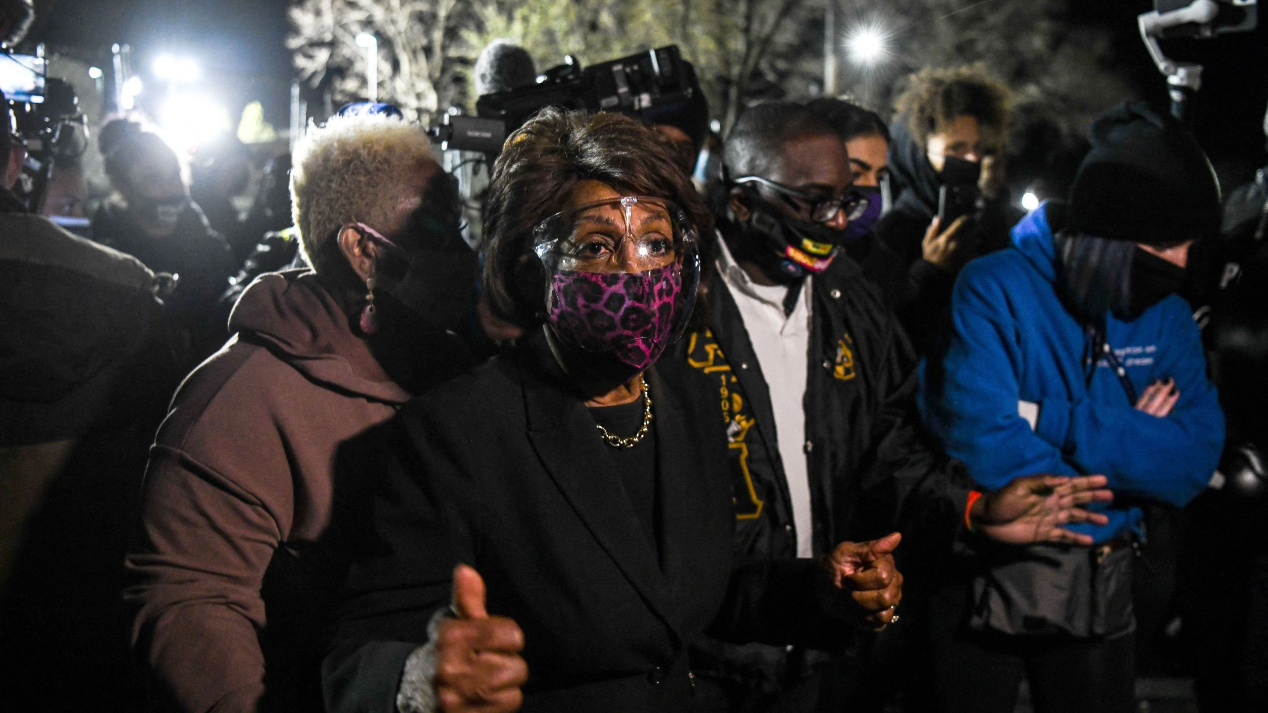 Rep. Maxine Waters speaks to the media during an ongoing protest at the Brooklyn Center Police Department in Brooklyn Centre, Minnesota on April 17, 2021. (CHANDAN KHANNA/AFP via Getty Images)