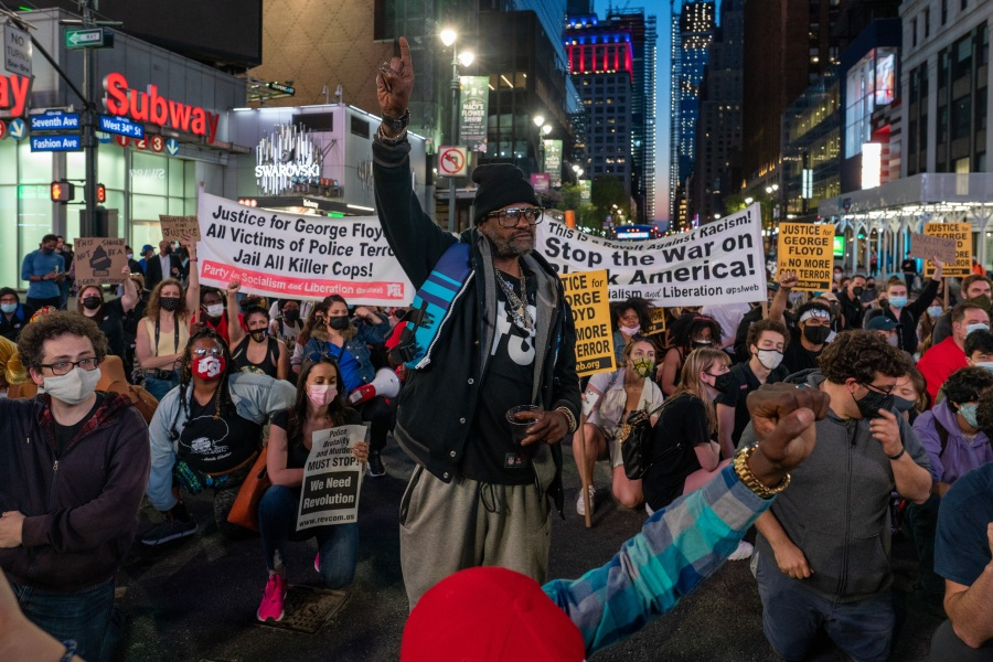 People take to the streets in New York City following the guilty verdict in Derek Chauvin's murder trial on April 20, 2021. (David Dee Delgado / Getty Images)