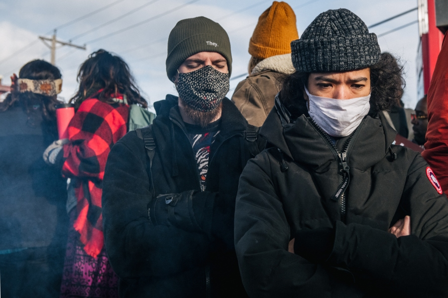 People gather at the intersection of 38th Street and Chicago Avenue in Minneapolis following the guilty verdict in Derek Chauvin's murder trial on April 20, 2021. (Brandon Bell / Getty Images)