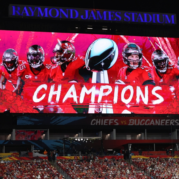 The scoreboard is seen after the Tampa Bay Buccaneers defeated the Kansas City Chiefs in Super Bowl LV at Raymond James Stadium in Tampa, Florida, on Feb. 7, 2021. (Patrick Smith / Getty Images)
