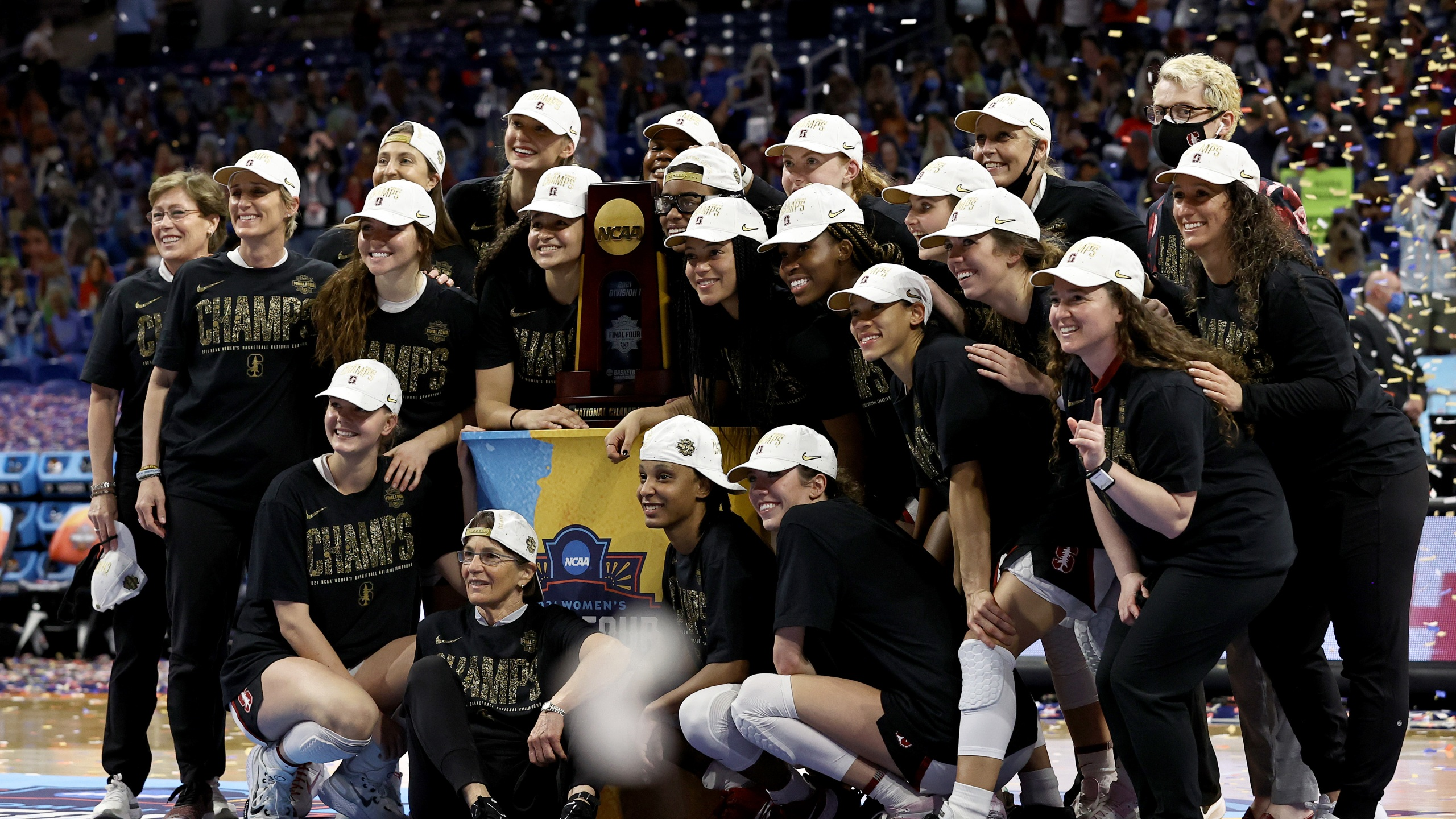 Members of the Stanford Cardinals celebrate a win against the Arizona Wildcats in the National Championship game of the 2021 NCAA Women's Basketball Tournament at the Alamodome on April 04, 2021 in San Antonio, Texas. (Elsa/Getty Images)