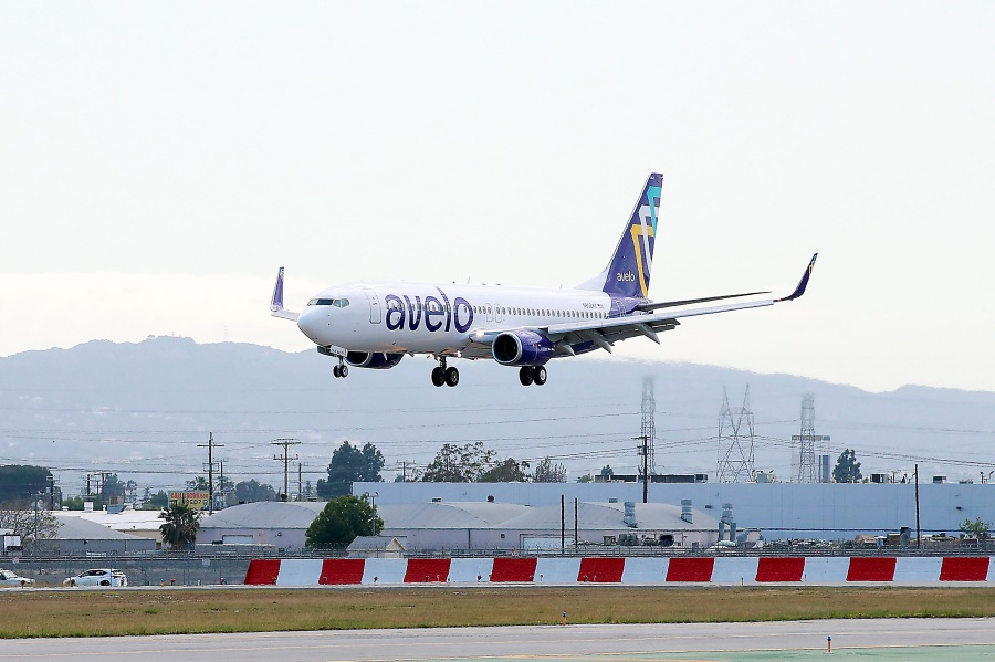 An Avelo Airlines aircraft is seen at Hollywood Burbank Airport on April 7, 2021. (Joe Scarnici/Getty Images for Avelo)