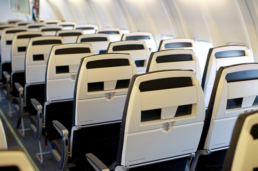 The interior of an Avelo Airlines aircraft seen at Hollywood Burbank Airport on April 7, 2021. (Joe Scarnici/Getty Images for Avelo)