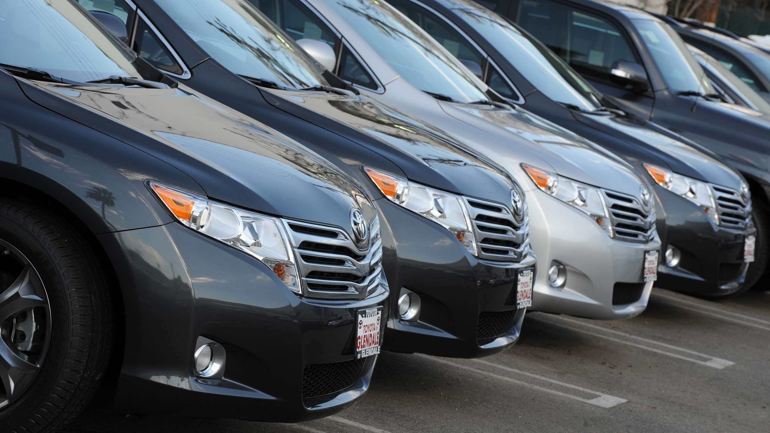 Toyota cars for sale at a Toyota dealer in Los Angeles on January 27, 2010. (MARK RALSTON/AFP via Getty Images)