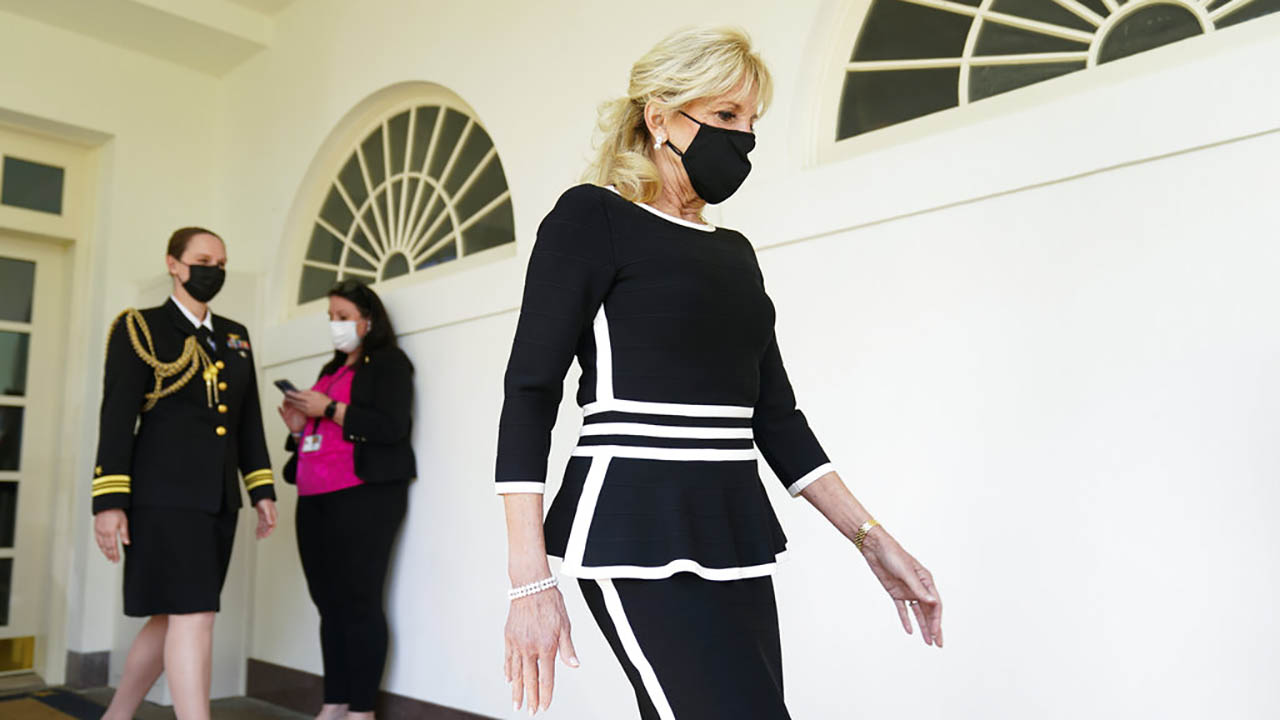 First lady Jill Biden arrives for an event about gun violence prevention in the Rose Garden at the White House, Thursday, April 8, 2021, in Washington. (AP Photo/Andrew Harnik)