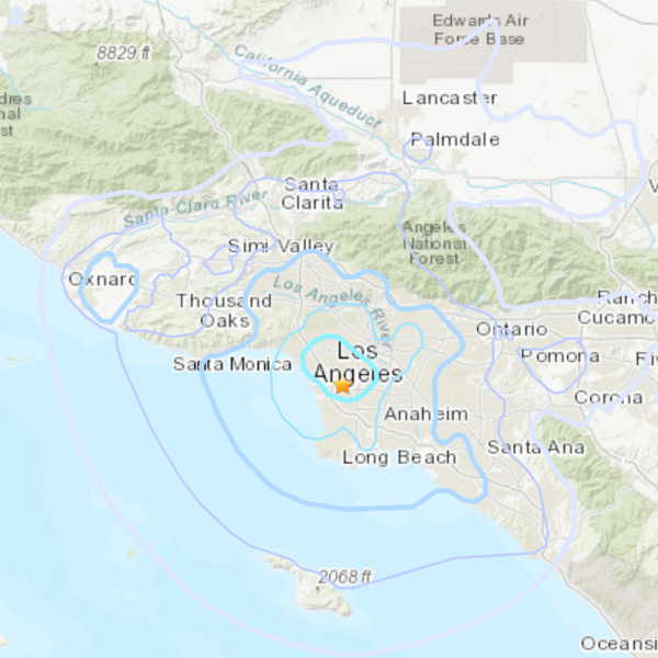 A 4.0 magnitude earthquake struck at 4:44 a.m. just north of the 105 Freeway in the South Bay region of Los Angeles on April 5, 2021. (U.S. Geological Survey)