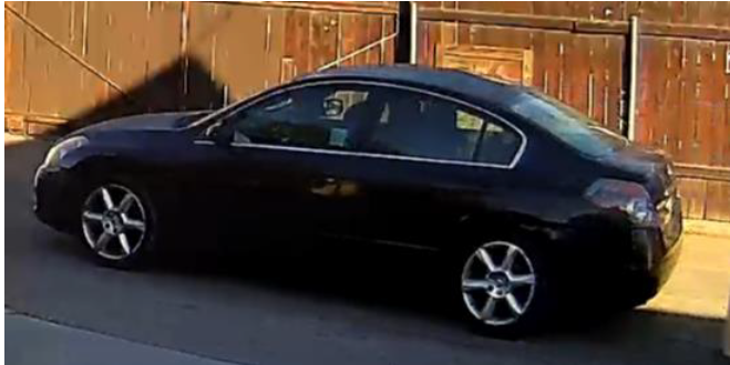 A vehicle involved in a December 2020 double homicide is seen in a photo provided by the Pasadena Police Department on April 14, 2021.