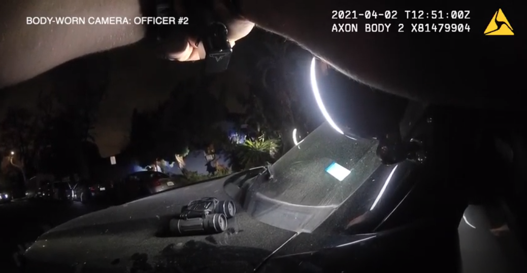 A still from bodycam video released by Long Beach police shows a moment leading up to the fatal shooting of a woman on April 2, 2021.