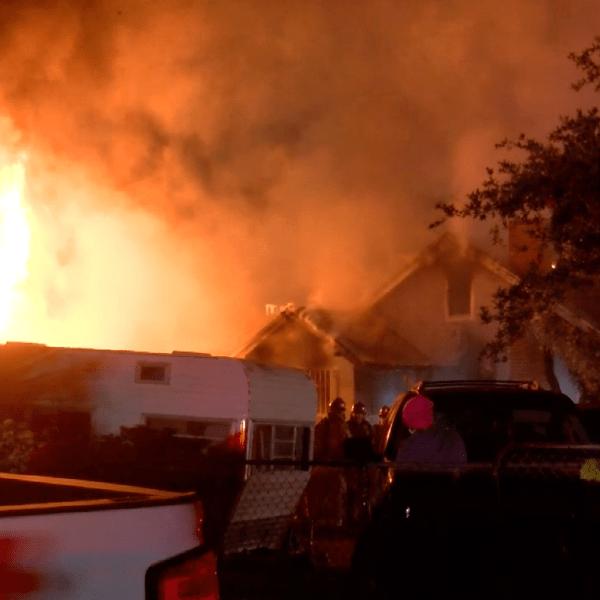 Crews respond to a house fire in San Bernardino on April 17, 2021. (Loudlabs)