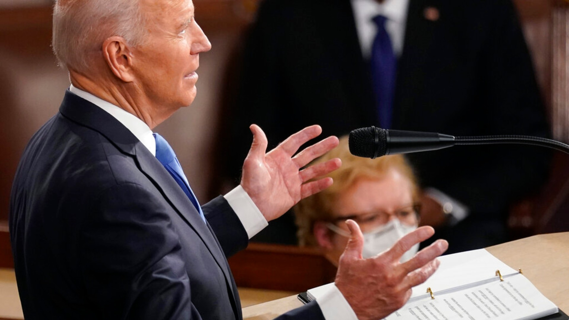 In this April 28, 2021, photo, President Joe Biden speaks to a joint session of Congress in the House Chamber at the U.S. Capitol in Washington. (AP Photo/Andrew Harnik, Pool)