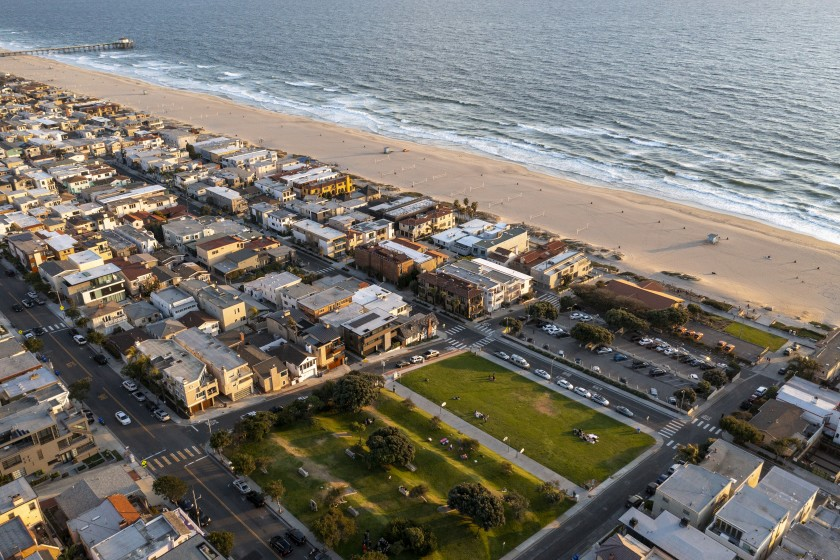 An aerial view of Bruce's Beach is shown in an undated photo. (Allen J. Schaben / Los Angeles Times)
