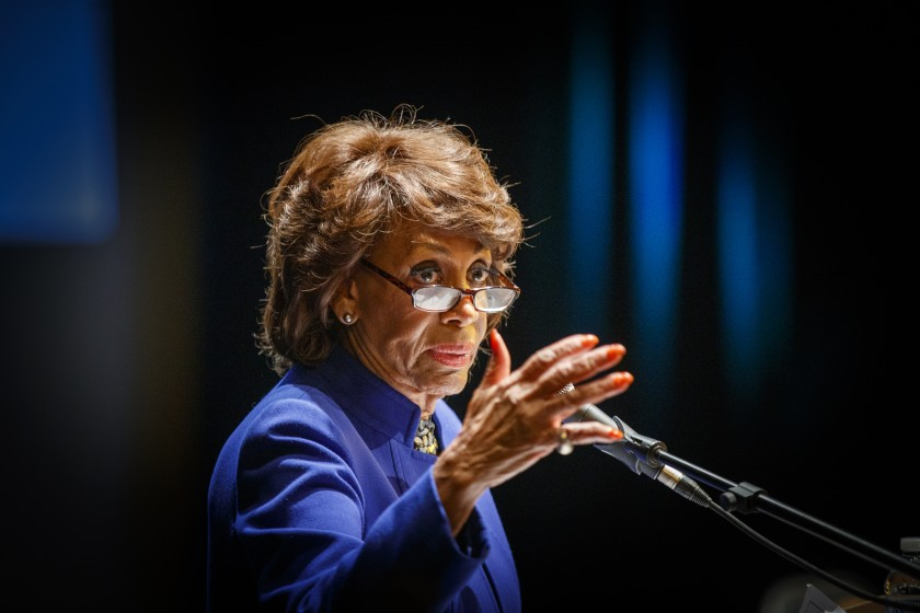 Rep. Maxine Waters (D-Los Angeles) hosts a community meeting in January of last year.(Allen J. Schaben / Los Angeles Times)
