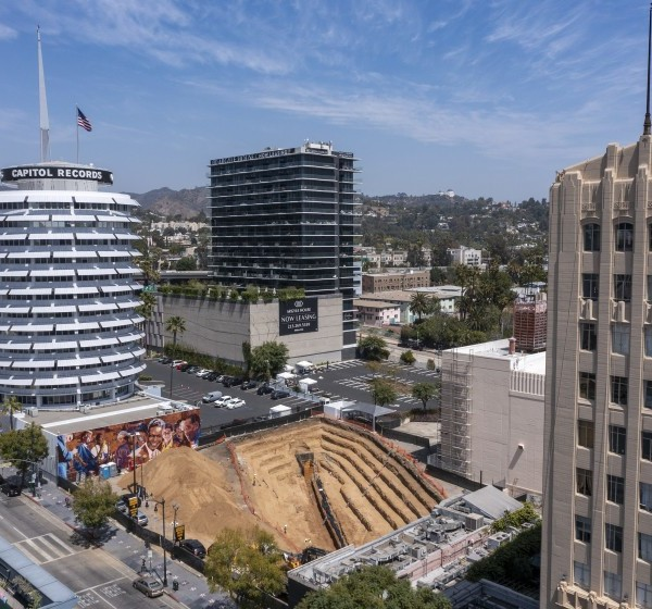 Trench at proposed Hollywood Center project.(Brian van der Brug / Los Angeles Times)