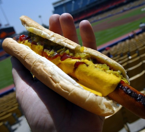 The iconic Dodger Dog with mustard, ketchup and relish. You can still get a Dodger Dog at Dodger Stadium, but it won't be made by Farmer John.(Los Angeles Times)