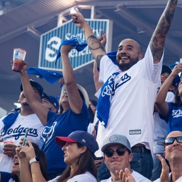 Fans cheer during Game 1 of the NLDS against the Washington Nationals at Dodger Stadium on October 3, 2019 in Los Angeles, California, the last series played with fans in attendance. (Gina Ferazzi / Los Angeles Times)