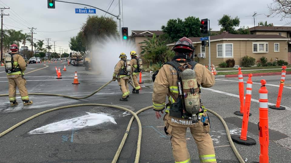 Crews respond to a natural gas leak in Downey on April 22, 2021, in a photo released by the Downey Fire Department.