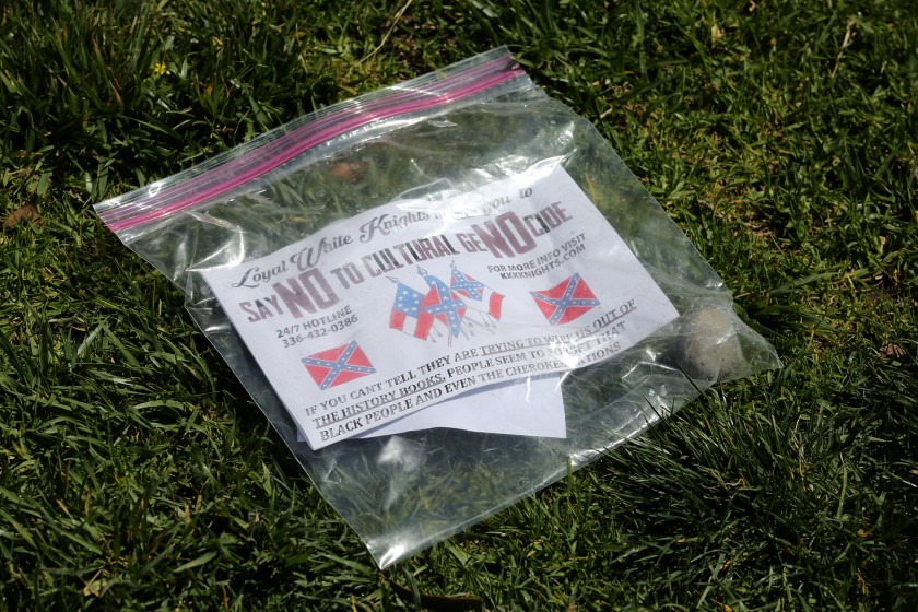 This white supremacist flier was found on the lawn of a in Newport Beach on March 30, 2021. On April 4, similar fliers were found in Huntington Beach. (Don Leach / Daily Pilot via L.A. Times)