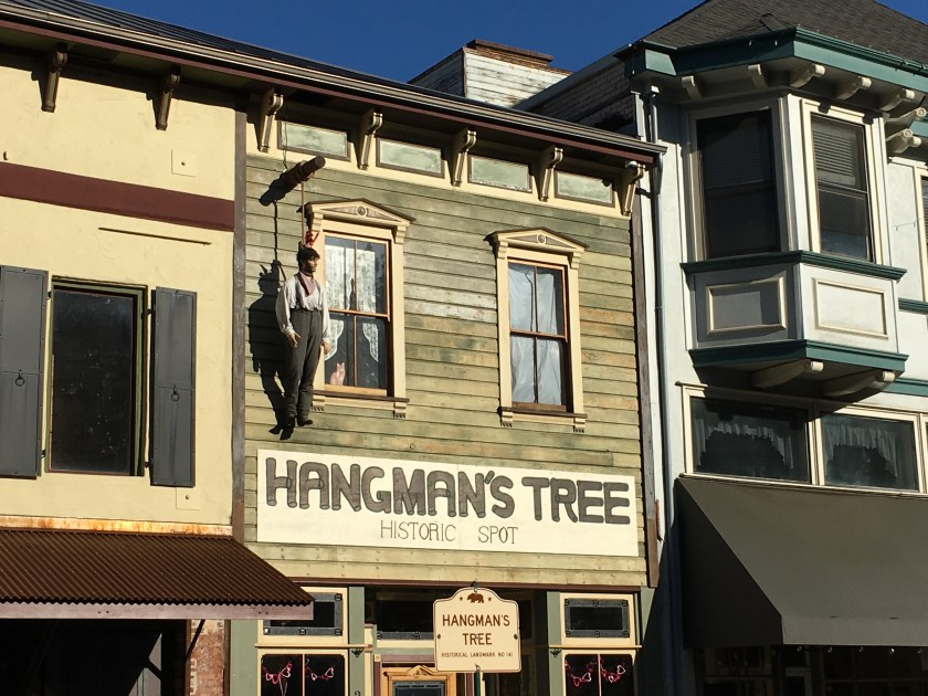 """A dummy named George hangs from a historical spot in Placerville, Calif. City officials recently voted to affirm the historical significance of its nickname """"Hangtown"""" — a reference to a controversial form of justice meted out during the Gold Rush days. (Hailey Branson-Potts / Los Angeles Times)"""