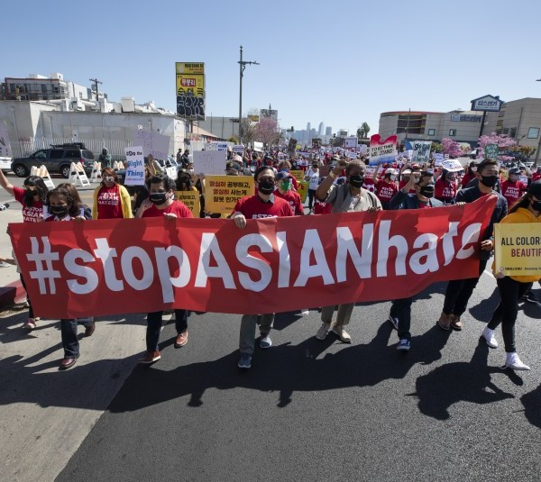 """Hundreds participated in a """"Stop Asian Hate"""" rally in Koreatown in March 2021.(Myung J. Chun / Los Angeles Times)"""