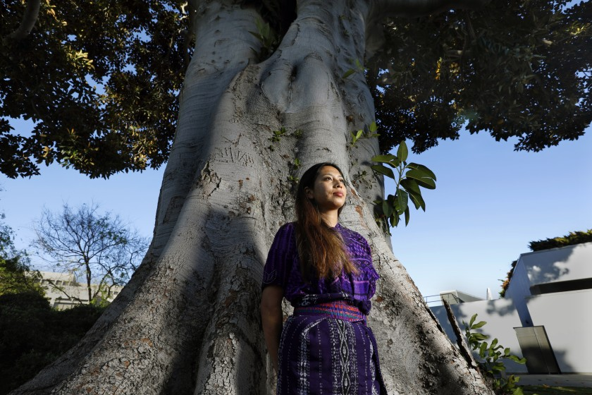 Alba Gonzalez, a Mayan immigrant from Guatemala, is doing outreach with CIELO to help indigenous residents get vaccinated for COVID-19.(Carolyn Cole / Los Angeles Times)