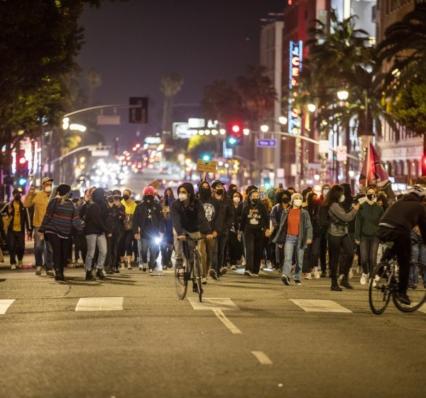 Participants march peacefully in Hollywood to demand justice for Daunte Wright and Adam Toledo on April 17, 2020.(Francine Orr/Los Angeles Times)