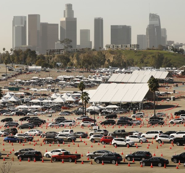 The vaccination site at Dodger Stadium will close by the end of May.(Al Seib/Los Angeles Times)