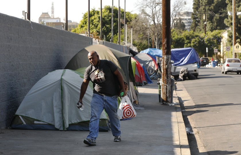 Ruben A. Colon, 37, is among those who live in tents on Carlos Avenue in Hollywood. He is seen in an undated photo. (Al Seib/Los Angeles Times)