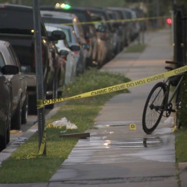 Detectives investigate a fatal shooting that took place in Huntington Park on April 19, 2021. (KTLA)