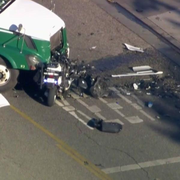 A deputy was injured in a crash with a big rig in Santa Clarita on April 28, 2021. (KTLA)