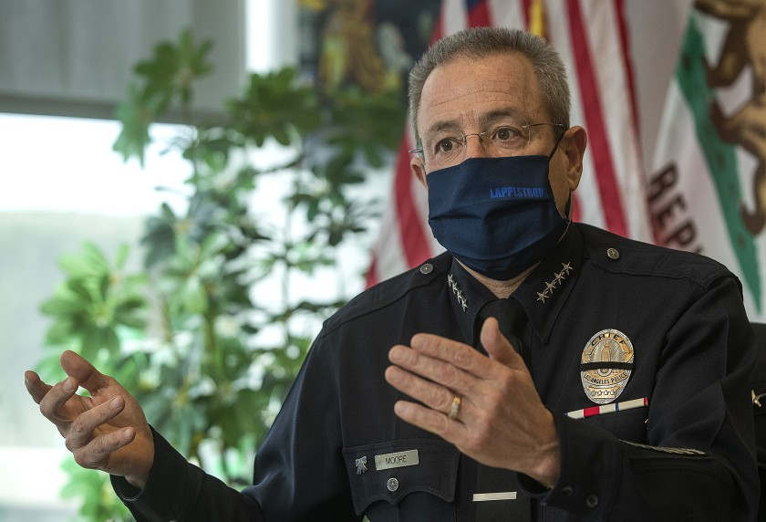 LAPD Chief Michel Moore, seen in this undated photo, has urged department personnel to get vaccinated against COVID-19. (Mel Melcon/Los Angeles Times)