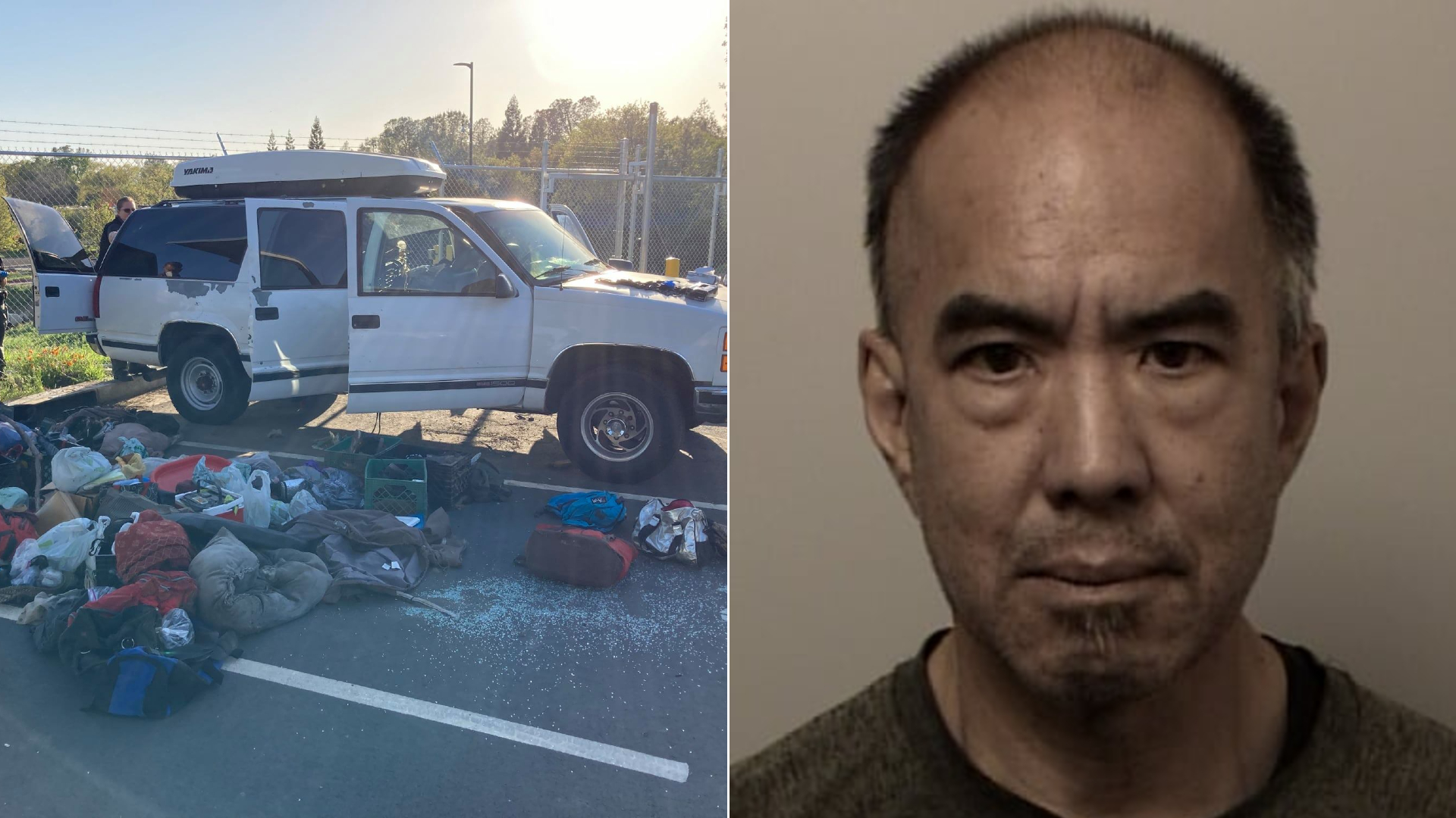 ZJar Uruluzu and an SUV he was found in with several dead dogs are seen in photos released by the El Dorado County Sheriff's Office.