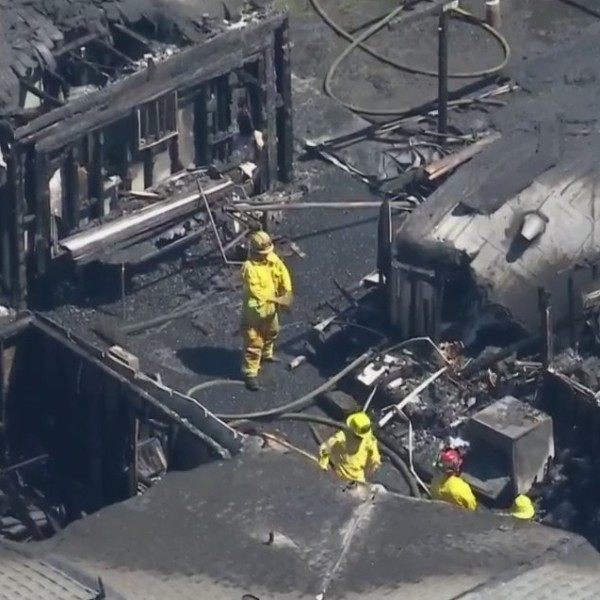 Firefighters extinguished a destructive blaze in Orange on April 30, 2021. (KTLA)