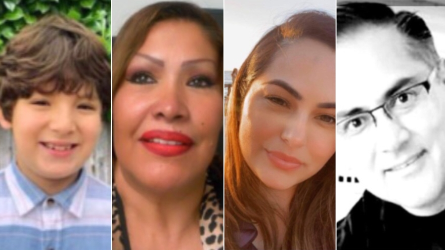 From left, Matthew Farias, Leticia Solis, Genevieve Raygoza and Luis Tovar are seen in undated photos from a GoFundMe page.