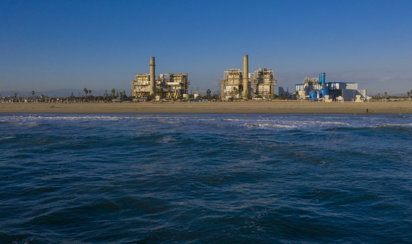 Poseidon Water plans to build a seawater desalination plant on the grounds of the AES Huntington Beach Generating Station, which will close in the next few years and is seen in this undated photo. (Allen J. Schaben / Los Angeles Times)