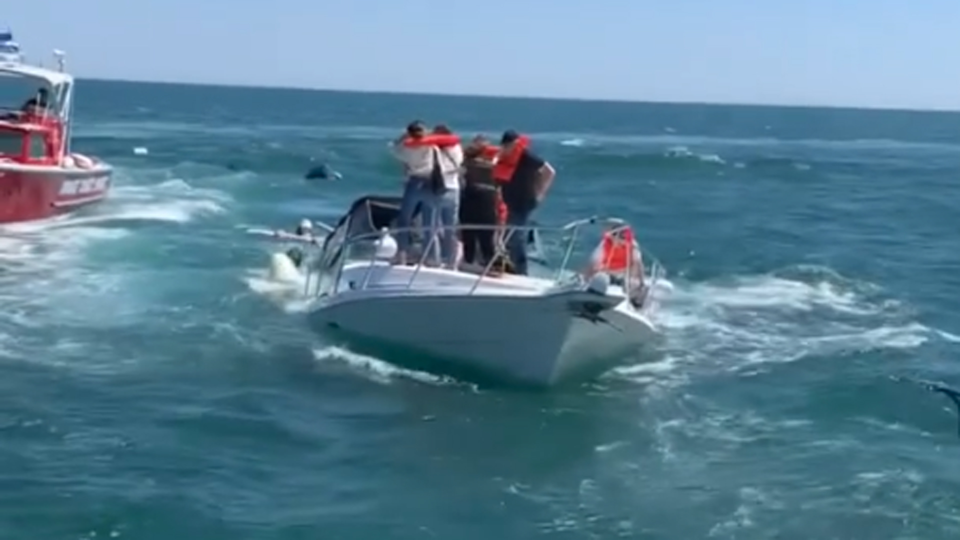 Video shared by the Orange County Sheriff's Department shows 14 people being rescued from a sinking boat off Newport Harbor on April 19, 2021.